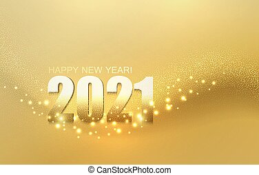 2021 New year with Abstract shiny color gold light design element on dark background. For Calendar, poster design