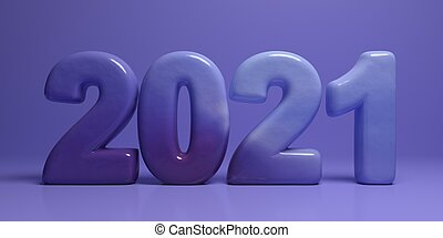 2021 new year. Blue color stone numbers on blue. 3d illustration