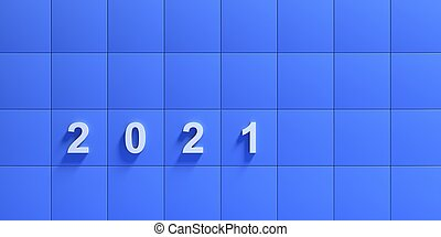 2021, new year on blue color tiled wall background, square shape grid. 3d illustration