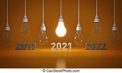 2021 New Year sign inside light bulbs. 3D rendering