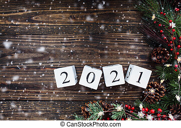 2021 New Years Calendar Blocks against Rustic Background