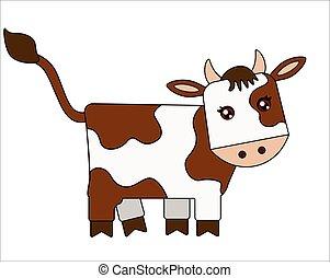 2021, pieno, illustration., cinese, colorare, bambini, picture., vettore, vitello, -, carino, stilizzato, horoscope., macchie, simbolo, bufalo, toro, marrone, animale