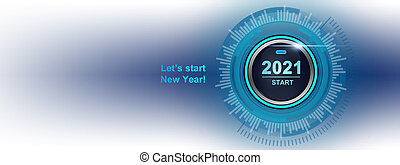 2021 - Press the start button. Concept of the New Year. 3D illustration
