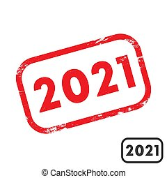 2021 rubber stamp with grunge texture and clean design. Vector illustration