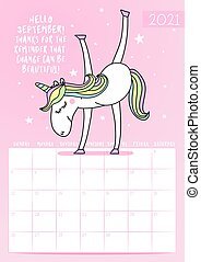 2021 September calendar with calligraphy phrase and unicorn doodle