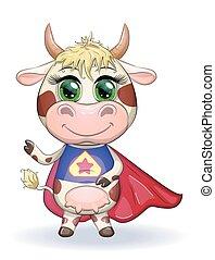 2021, simbolo, cartone animato, orientale, carino, toro, calendar., eroe, costume, mucca, mantello, rosso