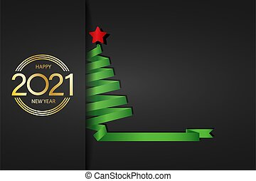 2021. Stylized new year and Christmas greetings for calendar, greeting card, banner with Christmas tree and inscription