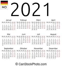 Tedesco, calendario, 2018, lunedì. Semplice, eps, calendar., anno
