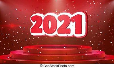 2021 Text Animation Stage Podium Confetti Loop Animation