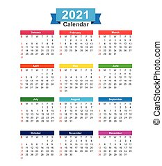2021  Year calendar isolated on white background vector illustration