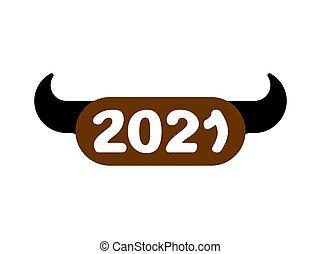 2021 Year of bull symbol. Sign new year