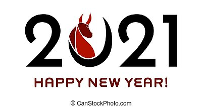 2021 Year Of The Ox Numbers With Bull Face Silhouette
