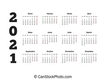 2021 year simple calendar in spanish, isolated on white