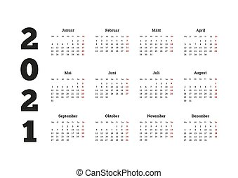 2021 year simple calendar on german language, isolated on white