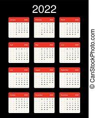 Simple calendar 2022, monday. Simple 2022 year calendar ...