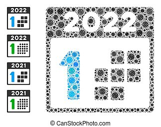 2022 first day coronavirus mosaic icon. 2022 first day collage is created of scattered coronavirus items. Bonus icons are added. Flat style.
