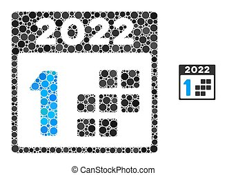 2022 first day mosaic of round dots in various sizes and color tinges. Vector round dots are united into 2022 first day collage. 2022 first day isolated on a white background.