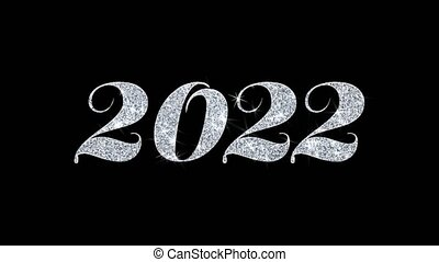 2022 Happy New Year Blinking Text Greetings card Abstract Blinking Sparkle Glitter Particle Looped Background. Gift, card, Invitation, Celebration, Events, Message, Holiday Festival