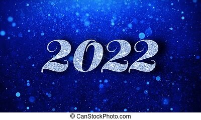 2022 Blue Happy New Year Text Greetings card Abstract Blinking Sparkle Glitter Particle Looped Background. Gift, card, Invitation, Celebration, Events, Message, Holiday Festival
