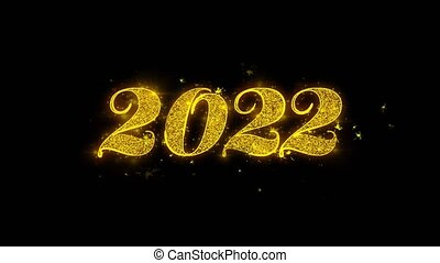 2022 Happy new year Typography Written with Golden Particles...