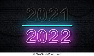 2022, néon, année, années, heureux, fait boucle, nouveau, ...