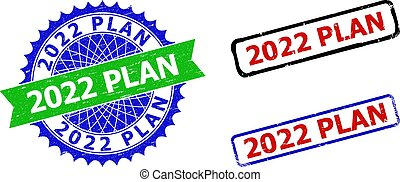 2022 PLAN Rosette and Rectangle Bicolor Seals with Corroded Surfaces