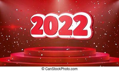2022 Text Animation Stage Podium Confetti Loop Animation