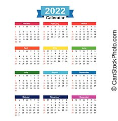2022 Year calendar isolated on white background vector illustration