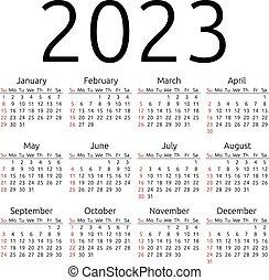 2023, calendario, vector, domingo