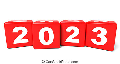 2023 New Year cubes. 3D illustration.