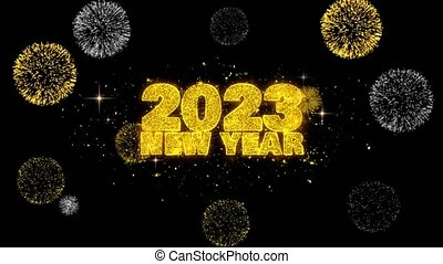 2023, text, enthüllen, partikeln, glitzer, himmelsgewölbe, wunsch, firework., neu , goldenes, jahr