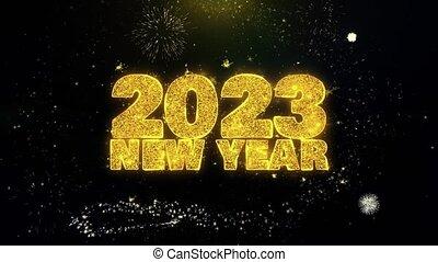 2023, text, partikeln, gold, display., himmelsgewölbe, wunsch, feuerwerk, jahreswechsel