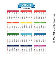 2023 Year calendar isolated on white background vector illustration