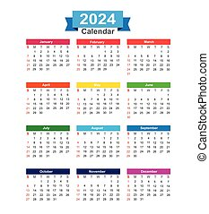 2024 Year calendar isolated on white background vector illustration