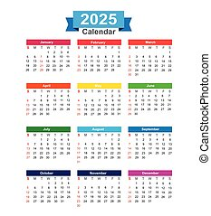 2025 Year calendar isolated on white background vector illustration