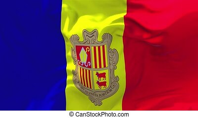 203. Andorra Flag Waving in Wind Continuous Seamless Loop...