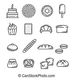 20312.eps - Bread and pastry cakes lineart icons of bakery...