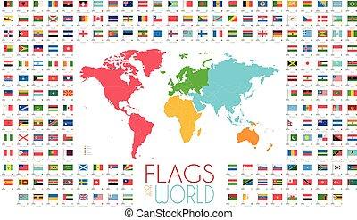 204, wereld, vlaggen, met, wereldkaart, door, continenten, vector, illustratie