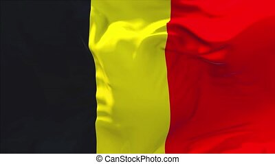 206. Belgium Flag Waving in Wind Continuous Seamless Loop Background.