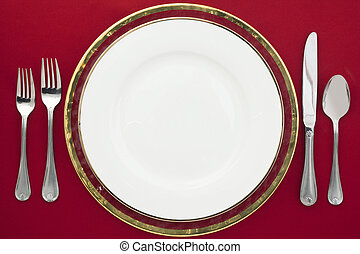 206 silverware and plate - Dinner setting with white plate...