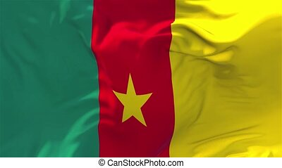 208. Cameroon Flag Waving in Wind Continuous Seamless Loop Background.