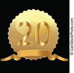 20o, aniversário, selo ouro