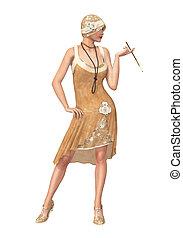 20s, 服, フラッパー, 女の子のダンサー, 吠え声