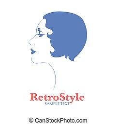 20s, figure, avatar, 30s, femme, coiffure, fond, ou, profil, position, blanc, icône, isolé