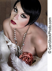 20s style beautiful brunette female wearing fur, exquisite,...