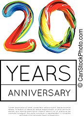 20th Anniversary, congratulation for company or person on white background. Vector