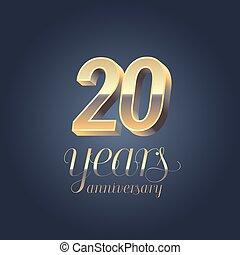 20th anniversary vector icon, logo