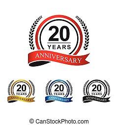 20th anniversary years circle ribbon
