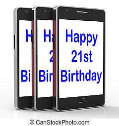 21ème, smartphone, vingt, féliciter, anniversaire, spectacles, heureux
