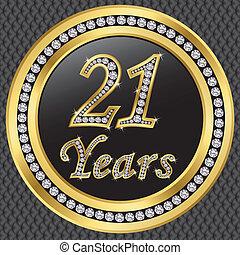 21, év, évforduló, boldog, birthda